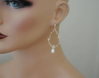 SALE - Drop Earrings, Gold and Pearl Earrings, flower long earrings, Gift for her, Dangle Earrings, Teardrop earrings, Everyday use