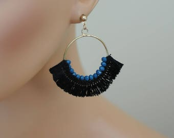 SALE - Dangle Earrings, Cotton Fringe Crescent Drop Earrings, Blue and Black Earrings, Gift for her, everyday use, Holiday Gifts