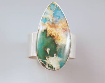 Regency Plume Agate & Turquoise- Stunning Gemstone- Hammered Sterling Silver- Plume Agate Ring