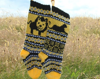 Lion Knit pattern, Panther Knit pattern, FairIsle Christmas Stocking, Knit a Santa Sock, Stranded Knits, Lion Home Decor, Knit Your Own