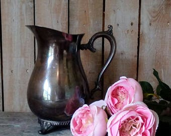 VINTAGE Silver Plated Water Pitcher, Flower Vase, Container, French Market, Shabby Cottage