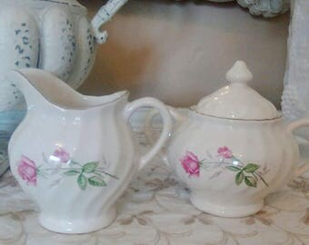 Vintage Cream and Sugar set, Rose Pattern China set Collectible, Dining, Kitchen, Shabby Romantic Cottage, Savannah's Cottage