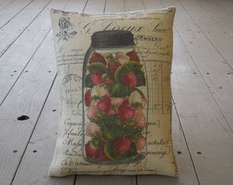 Strawberry Ledger Mason Jar Burlap Pillow, French Country, Rustic Farmhouse, INSERT INCLUDED