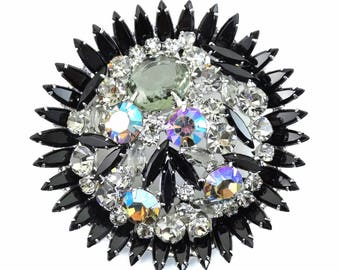HUGE Vintage D&E Juliana Black Crystal Sunburst Rhinestone Brooch CONFIRMED!