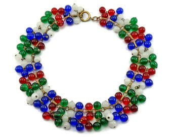Vintage RARE 1930s Early MIRIAM HASKELL Red Blue Green Gripoix Glass Bead Dangle Collar Necklace