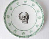 Skull Cake Dinner Plate Green Rose Flowers Pattern White Vintage China Made in England Wedding Anniversary Gift Wall Art Collage