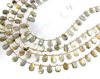 4 Strands Labradorite Beads  Multi Fire Smooth Briolette Pear Drops  AA Quality Size 5x7-5x10MM Approx 8''