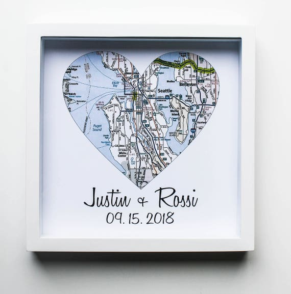 Unique Wedding Gifts For Couples: Wedding Gifts For Couples Map Art Print FRAMED Unique Wedding