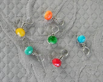 "Knitting Stitch markers, set of 6, ""Roy G Biv"",  up to 3.75 mm needles"