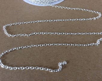 25ft Spool Bright Silver Cross Chain 3x2mm Silver Cable Chain Necklace Chain