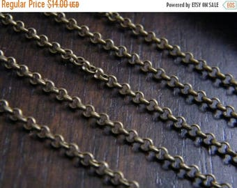 ON SALE 40ft Antique Brass Bronze Chain Round Cross Chain 2.5mm - B