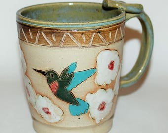 Handmade Pottery Mug / 2 Hummingbird