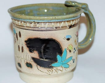 Handmade Stoneware Pottery Mug /  Cat at The Pond
