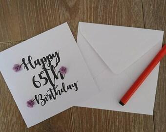 65th birthday card, birthday card, Greetings card, 65th card, personalised card, floral birthday card, handmade birthday card, handmade