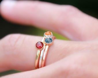 NATURAL GEMSTONE STACKING Ring - Silver, Gold, Rose Gold - Birthstone Stacking Ring - Birthstone Ring - Gemstone Ring - mother's ring - ring