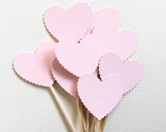 24 Pink Scalloped Heart Cupcake Toppers, Valentine Party Decor, Wedding, Baby Shower, Love, Double-Sided