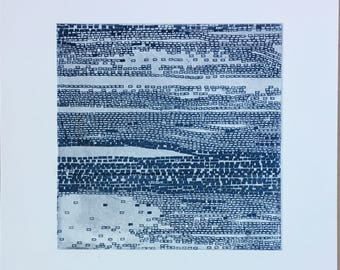 """Abstract etching. Contemporary Etching Print. Original Intaglio. Blue +  Pale Silver colors. Beach Art: """" Current 1"""" . 10"""" x10"""" . unframed"""