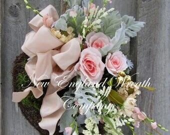 ON SALE Heart Wreath, Spring Wreath, Victorian Wreath, Country French Wreath, Easter Wreath, Designer Wreath, Elegant Wedding Wreath, Moss W