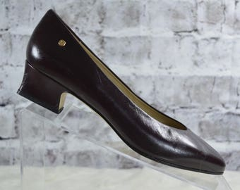vtg 80s Etienne Aigner classic oxblood burgundy leather low heel pumps size 7