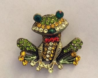 """Great Sale Frisky Froggy Brooch To Complete an Outfit Purse Tote Scarf Hat or Bridal Bouquet 1 1/2"""" Crystals, Metal, Green, Red"""