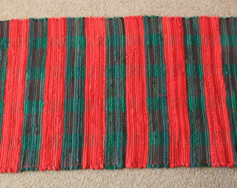 Handwoven Rag Rug - Christmas Red and Green Stripes - 44 inches....(#189)