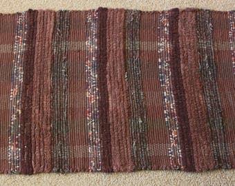 Handwoven Rag Rug - Mixed Browns - 39 inches....(#187)
