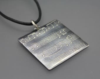 Personalized Music Necklace, Music Sheet, Music Sheet Jewelry, Music Note, Music Jewelry, Custom Music Sheet, Gift For Music Teacher