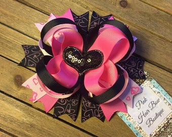 Pink and black valentine heart hair bow READY TO SHIP - 5 inch boutique stacked hair bow - beautiful valentine hair bow
