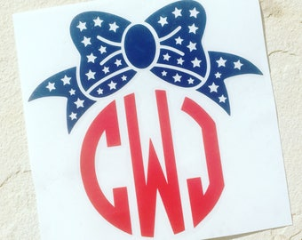 American Flag Bow Decal, Monogram Decal, Personalized Bow Decal, Bow Sticker, Vinyl Decal, Car Decal, Car Sticker, Yeti Decal, Custom Decal