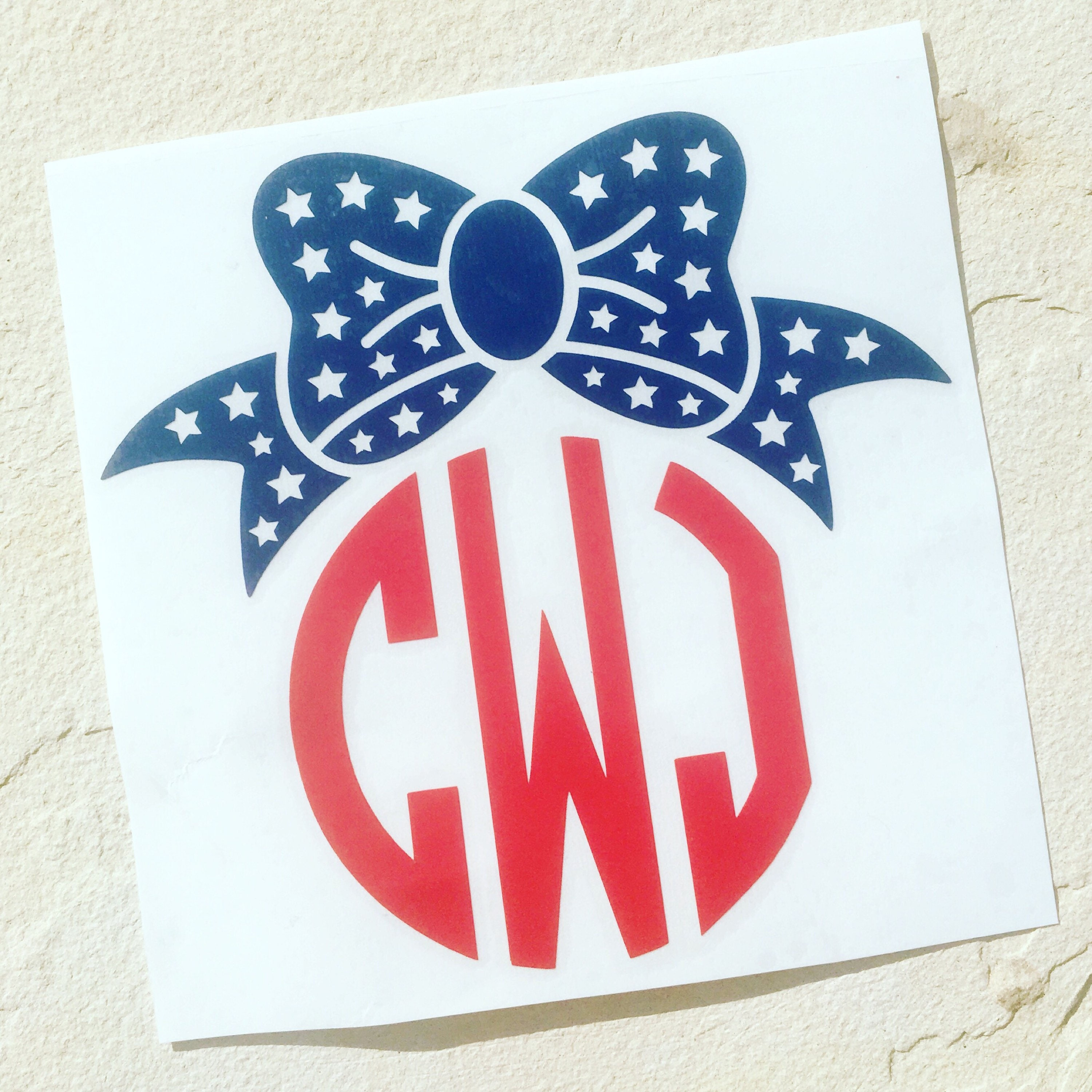 American Flag Bow Decal Monogram Decal Personalized Bow Decal - Bow custom vinyl decals for car