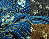 Troubled water, gold metallic, 1/2 yard, pure cotton fabric