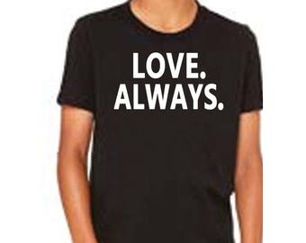 Kids T Shirt - Gender Neutral T Shirt - Heather Black Tee - Youth Love Graphic Kids T-Shirt - Love Always for Charity - Kids Black T-Shirt