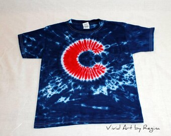 Tie Dye inspired by Chicago Cubs Baseball T Shirts Child Sizes