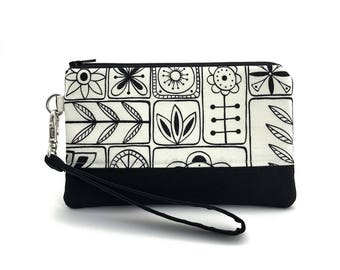 Cell Phone Wristlet, Black Flowers Purse, Zipper Wallet, Small Wristlet, Zipper Pouch, Gift for her, Padded Pouch
