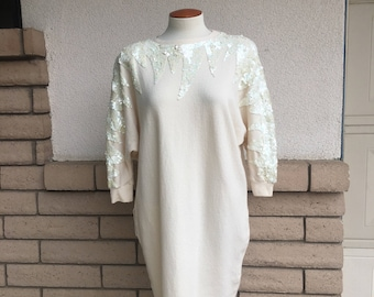 Vintage 80s Creamy White Sequined Lambswool Sweater Dress Medium