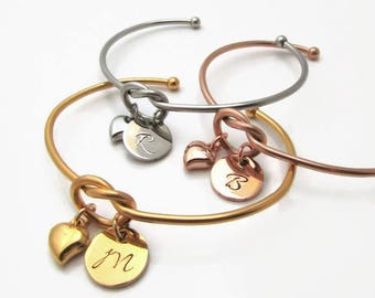Personalized Knot Bracelet, Bridesmaid Gift Ideas, Personalized Gift for Women, Initial Bracelet, Personalized Bracelet, Stainless Steel