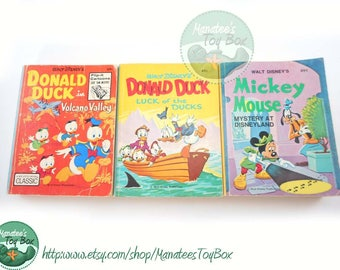 Disney Big Little Books Set of 3: Donald Duck & Mickey Mouse 1970s