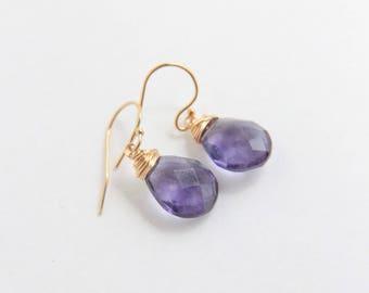 Purple Fluorite Earrings, 14k gold filled, Fluorite Stone Earrings, Wire Wrapped Jewelry, Purple Stone Earrings