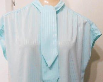 On Sale Vintage, Blouse, Secretary, Kitty Bow, 1960s, Aqua, Retro, 44 Bust, Large, 60s Blouse, Retro Blouse, Extra Large, Bow Blouse, Aqua B