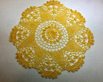 Vintage Bright Yellow Crochet Doily 20.25 Inches, Thread Crochet Round Doily, Elegant Doily, Parlor Table, Home Decor, Holiday Decorating