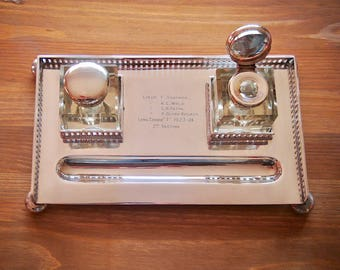 Beautiful silver plated ink stand, double ink wells, 1920's, Dimmer & sons, English