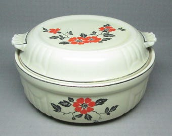 Hall China red poppy casserole with lid .