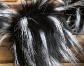 Spotted Desert Wolf Faux Fur Pom Poms Black w/White Tufts  for Toques Beanies Hats Keychains Purse Fob Charm Vegan Fake Plush Craft Supply