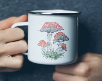 Watercolor Toadstool Mushroom Enamel Camp Mug