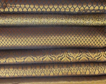 15% off on Bundle /stack of Black Indian brocade fabric -set of eight fat quarters
