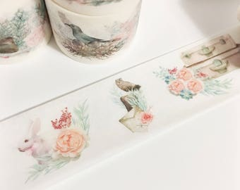 Gorgeous Watercolor Floral Birds Bunny Peonies Coral Teal Brown Flower Washi Tape 5.5 yards 5 meters 30mm
