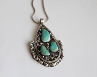 Navajo Circa 1970's Old Pawn Sterling Silver and High Grade Turquoise Necklace