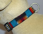Tribal Special Fancy black turquoise Medium Dog Collar handmade of Native American Chief Joseph Pendleton Wool - dog lover gift