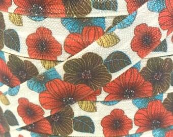 """5/8"""", Vintage Floral FOE, Fall Flowers, Fold Over Elastic, Harvest, Elastic by the Yard, DIY Hair Ties, DIY Headband, Elastic Hair Ties"""