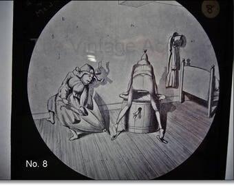 Magic Lantern Slide, Victorian Glass Slides, Victorian Toys, Mr. & Mrs. Brown and the Mouse, Lantern Slides No. 8